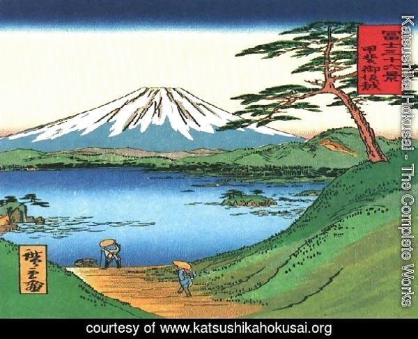 A Green Hilly View of Mt Fuji over a Lake