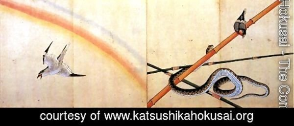 Katsushika Hokusai - Snake curling around a bamboo stalk with a sparrow on it