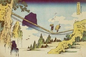 Katsushika Hokusai - Suspension Bridge on the Border of Hida and Etchu Provinces (Hietsu no sakai tsuribashi)